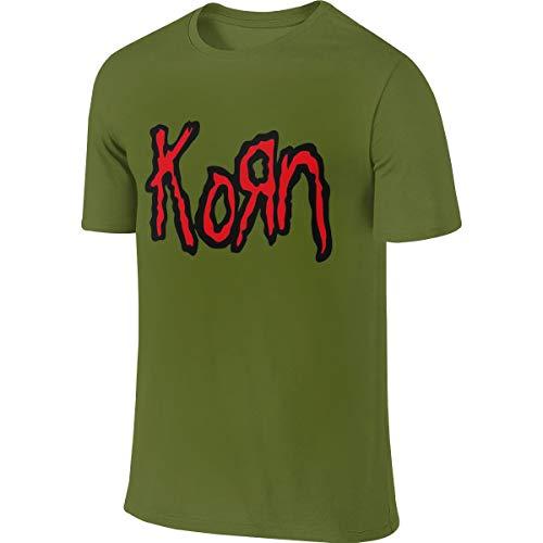 - Mens Classic Moss Green Short Sleeve T- Shirt Korn Logo Cute_ T ShirtsXL