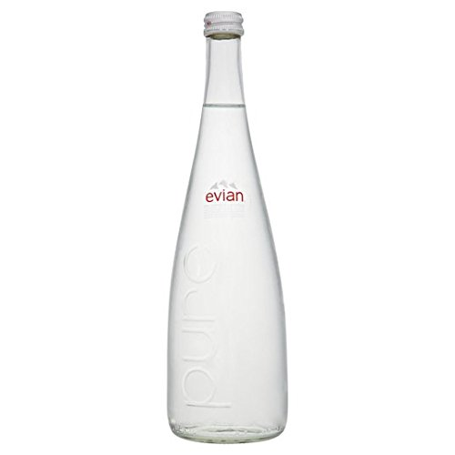 Evian - Botella de agua mineral sin gas (vidrio, 6 unidades de 750 ml