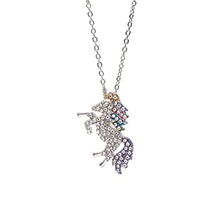 MUHU Fashion Rainbow Rhinestones Unicorn Pendant Necklace