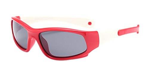 XFentech Enfants Lunettes de Soleil Polarisées pour Garçons & Filles Monture en caoutchouc flexible Sport Lunettes Rouge/Blanc