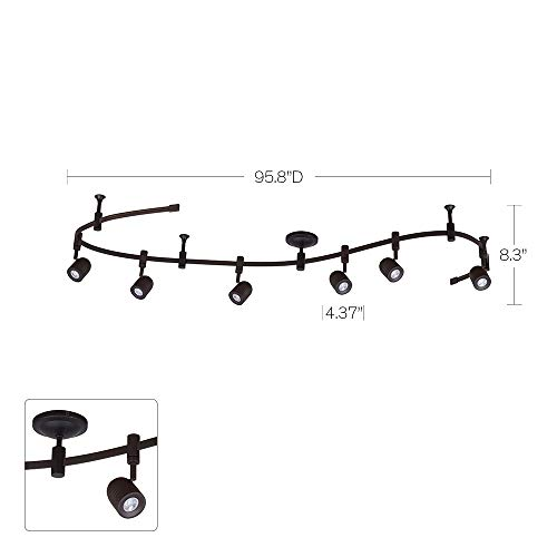 Catalina Lighting 21903-000 Transitional 6 Integrated LED Flex Track Ceiling Light, Bulbs Included, 96'', Bronze by Catalina Lighting (Image #5)