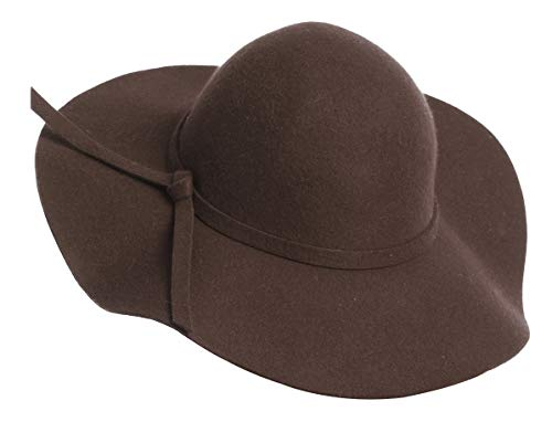 Lovful Women 100% Wool Wide Brim Cloche Fedora Floppy Hat Cap,Coffee