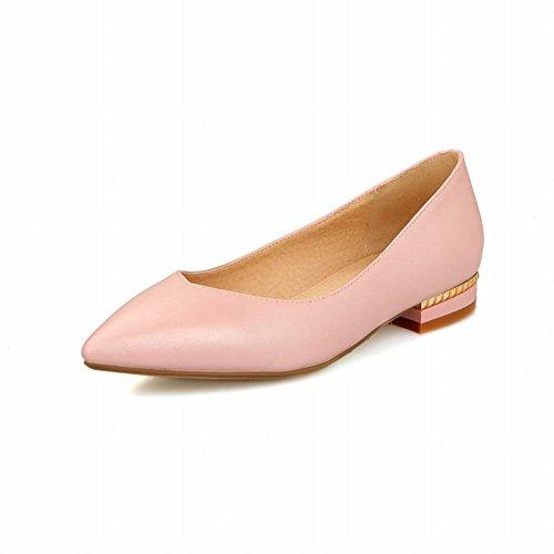 Latasa Mode Féminine Bout Pointu Chaussures Occasionnelles, Chaussures Plates, Bas Talon Pompe Rose