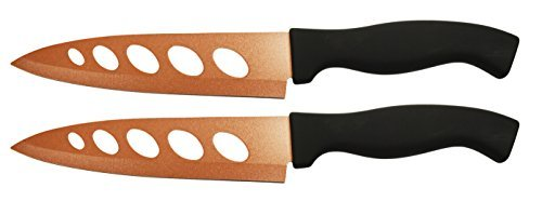 Set of 2 Copper Knives! 6.25'' Blade - As Seen on TV Never Sharpen Knives! Stays Sharp Forever! Effortless Clean Cuts Every Time! Ideal for Chopping, Dicing, Mincing, and More! (2)