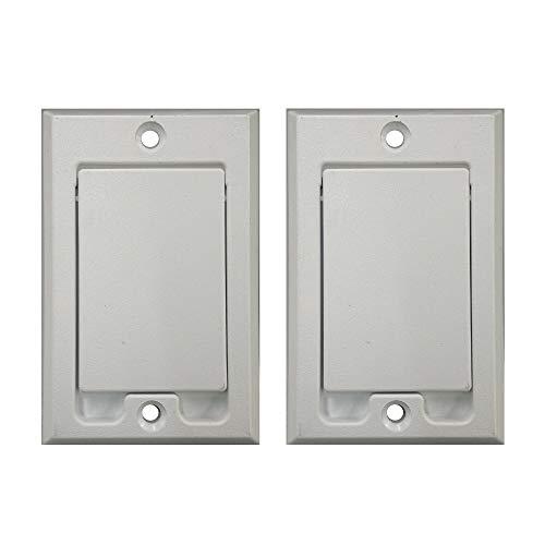 Beam Central Vacuum Installation - Central Vacuum Square Door Inlet Wall Plate for Nutone Beam VacuFlow - White (2-Pack)