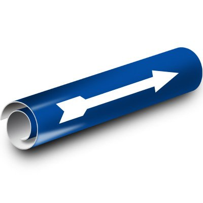 Plastic Blue Arrow Kwik-Koil Pipe Markers, White on Blue Kwik Koil - White On Blu Arrow Fits Pipe Diameter: 2-1/2'' through 3-7/8''