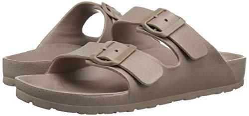 Toson Men's Comfort Slides Double Buckle Adjustable EVA Flat Sandals Flip Flops Slippers (8 M US, Khaki)