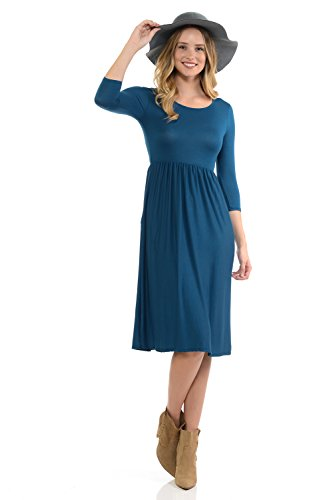 Floral Jersey Dress (iconic luxe Women's Solid Fit and Flare Midi Dress With Pockets Small Teal)