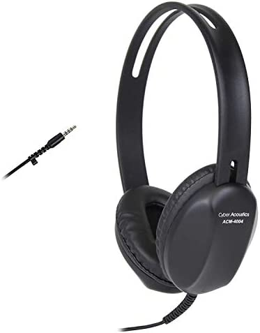 Cyber Acoustics Lightweight 3.5mm Headphones – Great for use with Cell Phones,Tablets, Laptops, PCs, Macs ACM-4004