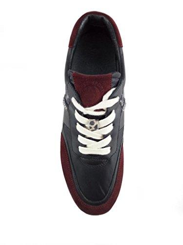Tessuto panna Borchie Multicolore Glitter Janet E In Sneaker Nero Pelle Con Sport bordeaux n8RRPgqX