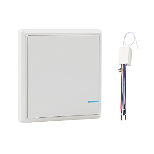 Wsdcam Wireless Light Switch with Receiver Kit Outdoor 1900 ft Indoors 229 ft - Remote Ceiling Lamp LED Bulb - IP54 Dampproof