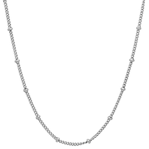 (The Bling Factory 2.2mm Stainless Steel Station Bead Curb Link Chain Necklace, 16)