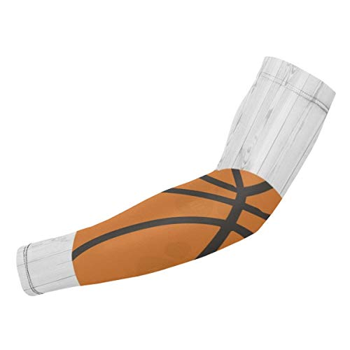 ManSanTuBaZhu Wood Basketball Sports Clipart Unisex Protection Sleeves-Sun Gloves Cover,Anti-UV Sunscreen Cool Arm Long Elasticity for Outdoor Sports-1 Pair