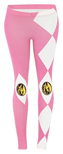 [The Mighty Morphin Power Rangers Juniors Pink Leggings Tights Yoga Pants] (Mega Morph Suits)