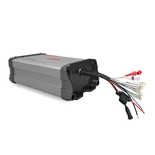 Pyle 4-Channel Marine Amplifier Receiver - Waterproof and Weatherproof Audio Subwoofer for Boat Stereo Speaker & Other Watercraft - 1200 Watt Power, Wired RCA, AUX and MP3 Audio Input Cable - PLMTR4A