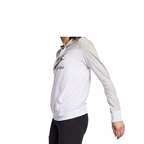Nike Womens Gym Vintage Pull Over Graphix Hoodie Grey Heather/Birch Heather/Dark Grey AV8298-050 Size Medium