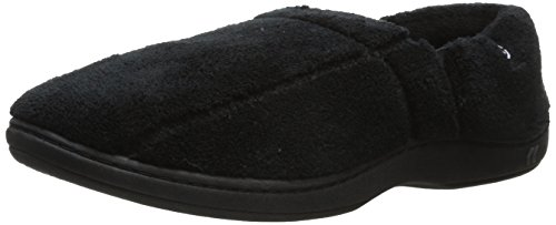 isotoner Men's Terry Moccasin Slipper with Memory Foam for Indoor/Outdoor Comfort and Arch Support