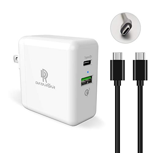 (USB C Wall Charger, Datatoar USB Charger with Foldable Plug and USB C Cable(3ft), PD (27W) and QC 3.0 (18W) Port for iPad pro,iPhone Xs/Max/XR/X/8, Pixel,Samsung S9/S8, Nintendo Switch and More)