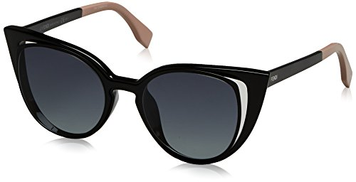 Fendi Women's Cutout Cat Eye Sunglasses, Matte Shiny Black/Grey, One - Fendi Glasses Women