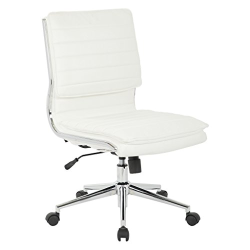 Awesome Office Star Faux Leather Armless Mid Back Managers Chair With Chrome Base White Alphanode Cool Chair Designs And Ideas Alphanodeonline