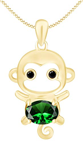 Simulated Emerald Cute Monkey Animal Cartoon Pendant Necklace in 14K Yellow Gold Over Sterling Silver
