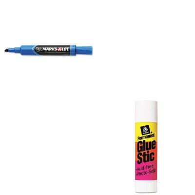 KITAVE00166AVE07886 - Value Kit - Marks-a-lot Permanent Marker (AVE07886) and Avery Permanent Glue Stics (AVE00166) - Ave00166 Permanent Glue