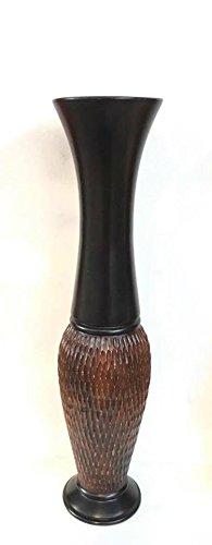 Baan Tawai, Chiang Mai, Mango Wood Vase Hand-Crafted, Floor Vase 30 inches (No.0010) Thailand Work Art By WADSUWAN SHOP. by WADSUWAN SHOP