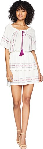 Romeo & Juliet Couture Women's Embroidered Smocking Top Maxi Dress Ivory (Embroidered Cut Out Dress)