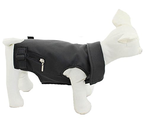 (lovelonglong DLT-07SB Pet Clothing Dog Clothes Leather Jacket Vest Waistcoat for Small Middle Large Size Dogs Black Brown Leather Vest Tanks Very Cool (XS, Black))