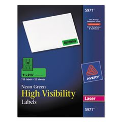 (High-Visibility Laser Labels, 1 x 2-5/8, Neon Green, 750/Pack, Total 5 PK, Sold as 1 Carton)