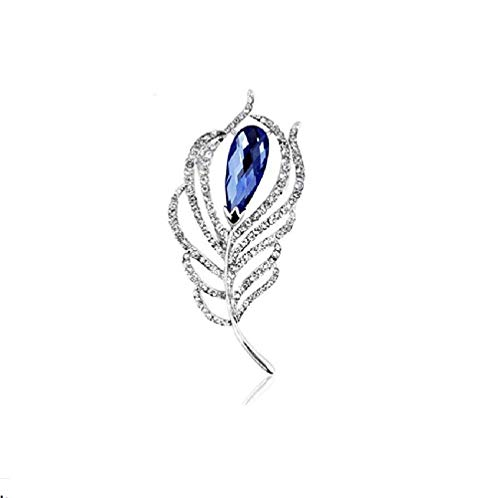 1PC Fashion Exquisite Crystal Leaf Feather Brooch Pin Elegant Luxury Shawl Scarves Clasp Chest Dress Decorations Buckle Clothes Accessories for Women Girls Birthday Xmas Gift Daily Wear (Blue Crystal)