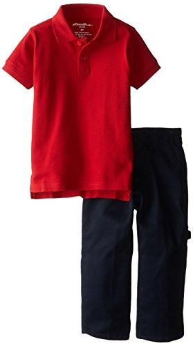 Eddie Bauer Toddler Boys' School Uniform Set, Engine Red-BKHH, 3T