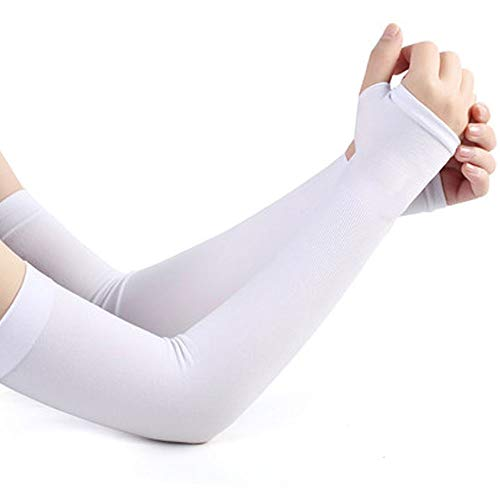 Arm Sleeves UV Protection Cooling/Warmer Long Arm Cover Sleeves for Women&Men&Kids, Perfect for Golf Cycling Driving Running Basketball Football and Outdoor Activities Skin Protection. (White)