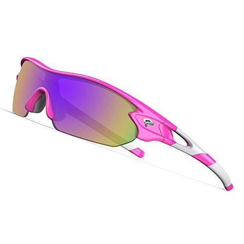 TOREGE Tr90 Flexible Kids Sports Sunglasses Polarized Glasses for Junior Boys Girls Age 3-12 TR04 (Pink&White&Purple Lens)