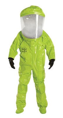 DuPont Personal Protection TK555TLYLG00 Large Lime Yellow SafeSPEC 2.0 25 mil Tychem TK Encapsulated Level A Chemical Protection Suit With Hood, Socks, English, 15.34 fl. oz, Plastic, 1