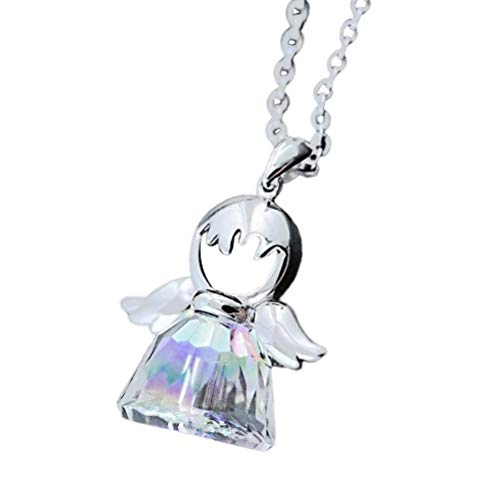 Silver Angel Necklace Sweet Love Cute Guardian Angel Crystal Pendant Jewelry Necklace Birthday Birthstone Gifts for Women Crystal Birthstone Angel Pendant