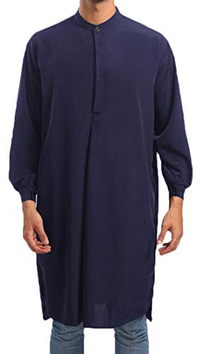 Zantt - Camisa de Manga Larga para Hombre, Estilo árabe, Estilo árabe, Azul Marino, Medium