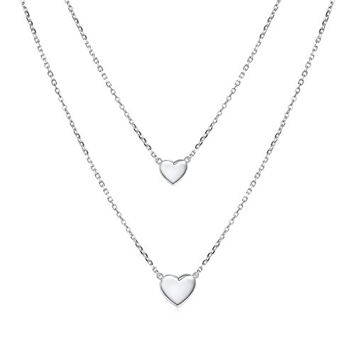 Sterling Silver Jewelry Double Layered love Heart Necklace Pendant Handmade Dainty Choker for Women Girls