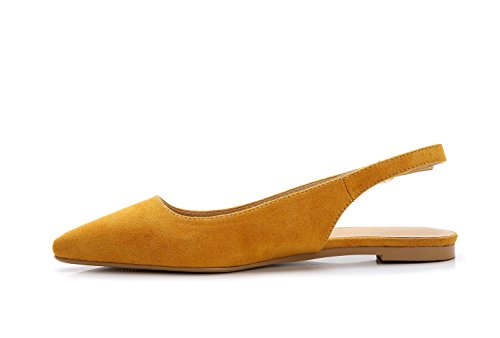 ComeShun Womens Shoes Yellow Buckle Flats Adjustable Slingback Sandals Suede Pumps Size 8 by ComeShun (Image #3)