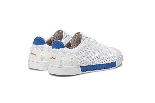 SWIMS Mens Breeze Tennis Knit Sneakers For Pool and Summer White/Blitz Blue zXSBnXu