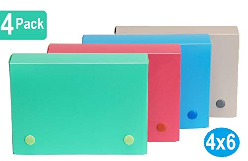 1InTheOffice Index Card Case, 4X 6 Index Card Holder, Assorted Colors (4 Pack)