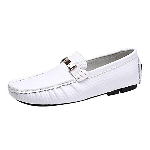 Men Loafers Moccasins Luxury Brand Slip On Mens Driving Shoes Genuine Leather Casual Shoes Men,White,8