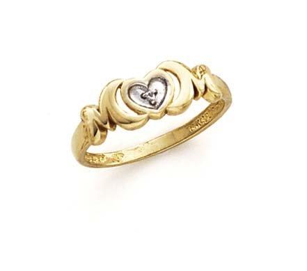- 14k Two-Tone Gold Diamond Heart Ring - Size 7.0
