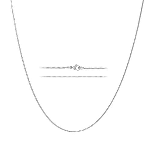 MAJU Designers 24K White Gold Plated Stainless Steel Box Chain Necklace 1.2MM, 20