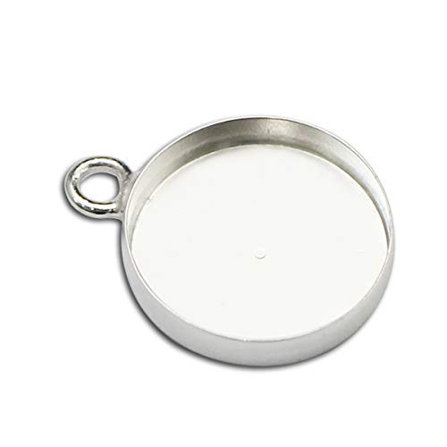 - 925 Sterling Silver 5pcs 16mm Pendant Tray Collocation 16mm Cabochon