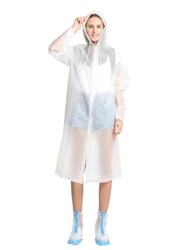ColorDrip Fashion Translucent Raincoat Rain Jacket Rainwear for Woman Lady Girl – Made of Eco-friendly EVA Material (Women Slicker Rain)