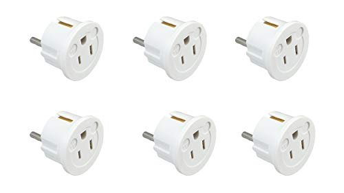 (Instapark IPA-20-6P Heavy-duty USA/America Type A (2-Pin) & B (3-Pin) to European Type E & F/Schuko Electrical Wall Outlet/Socket Plug Adapter for Travel, 6-Pack (White))