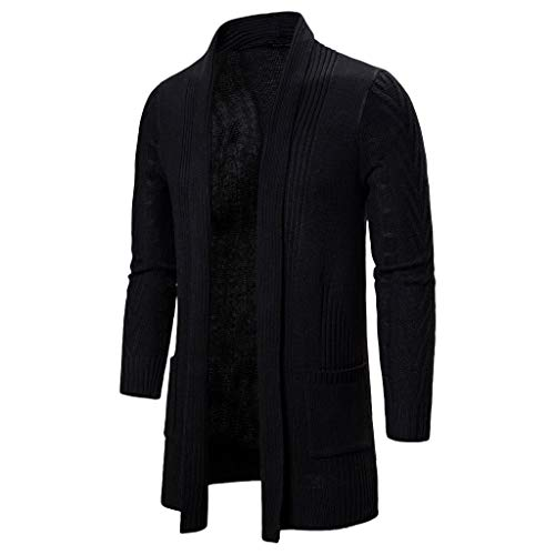 NOMENI Men's Casual Knitted Jacket Jacket Cardigan Casual Solid Color Hooded Knit Long Cardigan Black (Herren-slip Neopren)