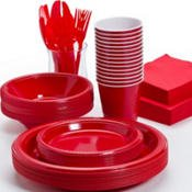 Pans Pro Tableware 48 Serving Party Set, Forks, Spoons, Knives, Plates, Bowls, Cups, Napkins, Tablecovers (Red)