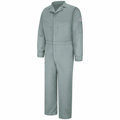 - Bulwark Flame Resistant 6 oz Cotton/Nylon Excel FR ComforTouch Long Deluxe Coverall with Concealed Snap On Cuff, Grey, Size 44